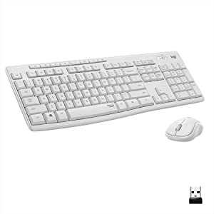 Logitech MK295 Wireless Mouse & Keyboard Combo with SilentTouch Technology, Full Numpad, Advanced Optical Tracking, Lag-Free Wireless, 90% Less Noise - Off White
