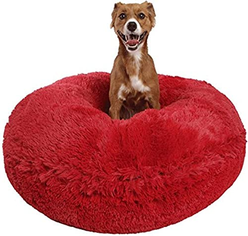 Bessie and Barnie Signature Lipstick Luxury Shag Extra Plush Faux Fur Bagel Pet Dog Bed Multiple Sizes