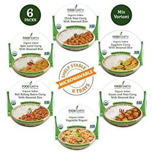Food Earth Organic Indian Meals Variety Pack - Read to Eat Meals - Indian Food - Organic Microwaveable Meals - Pre Prepared Meals - (6 PACK)
