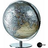 Mascagni Globe terrestre lumineux chaînes de montagne et relief diamètre 42 cm Gris métallisé