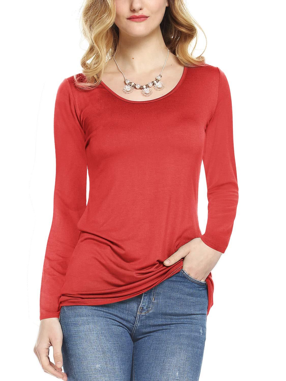76e01b2f514 Amoretu Women s Scoop Neck Long Sleeve T Shirt Cotton Tee Tops Plus Size  Red XXL