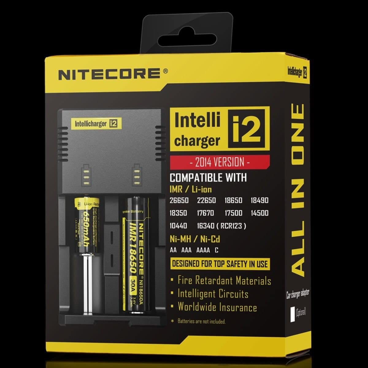 Black NiteCore NiteCore-i2-V2014-A 2014 New Version Universal Intelligent Charger for Two Batteries Compatible with IMR//Li-Ion
