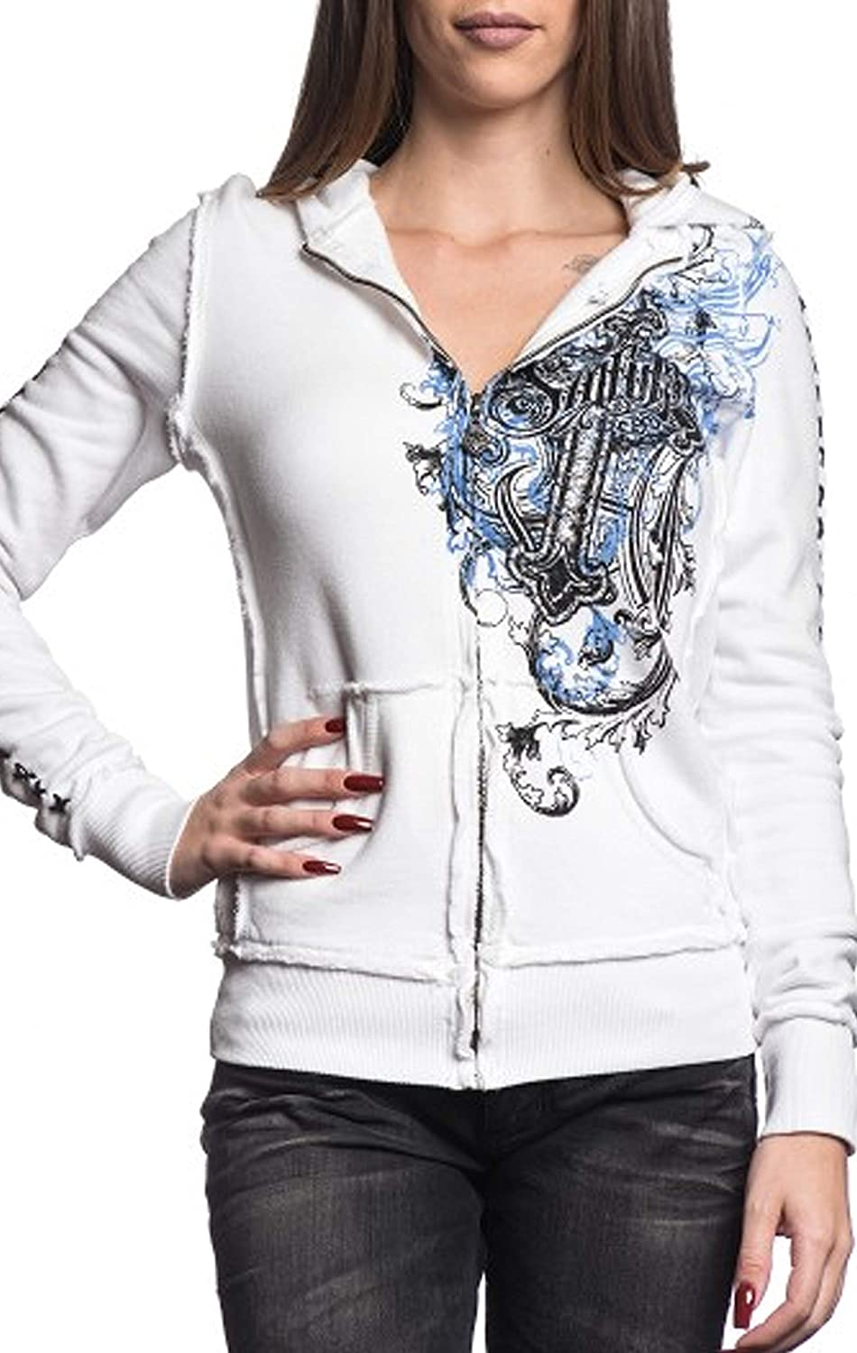 SINFUL Binded Heart S3683 New Women`s White Zip Hood Jacket By Affliction