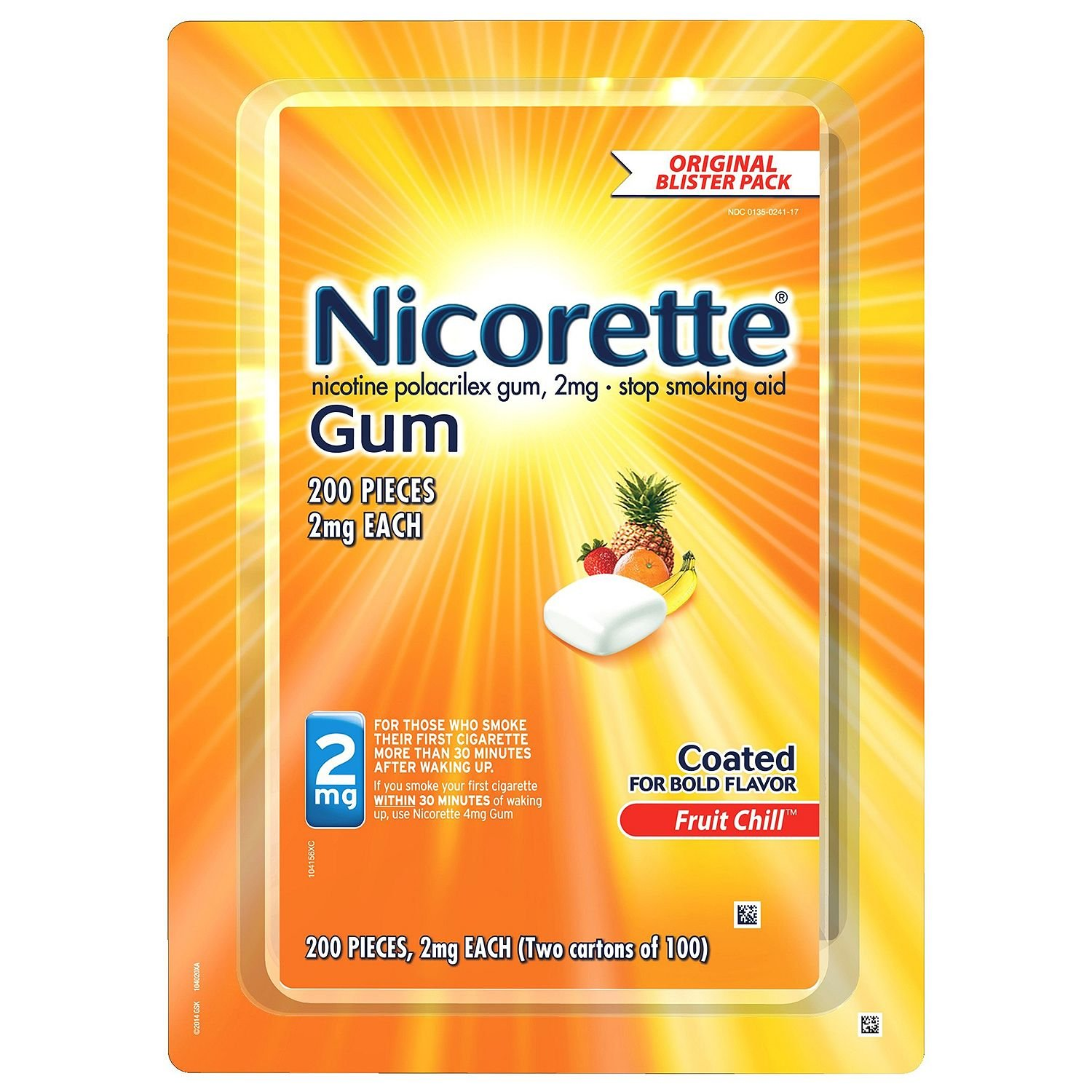 Nicorette Nicotine Gum Fruit Chill 2 milligram Stop Smoking Aid Value 2 Pack ( 400 count Total )