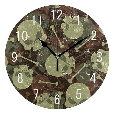 Domoko Home Decor - Reloj de Pared con diseño de Calavera de azúcar con Hueso,
