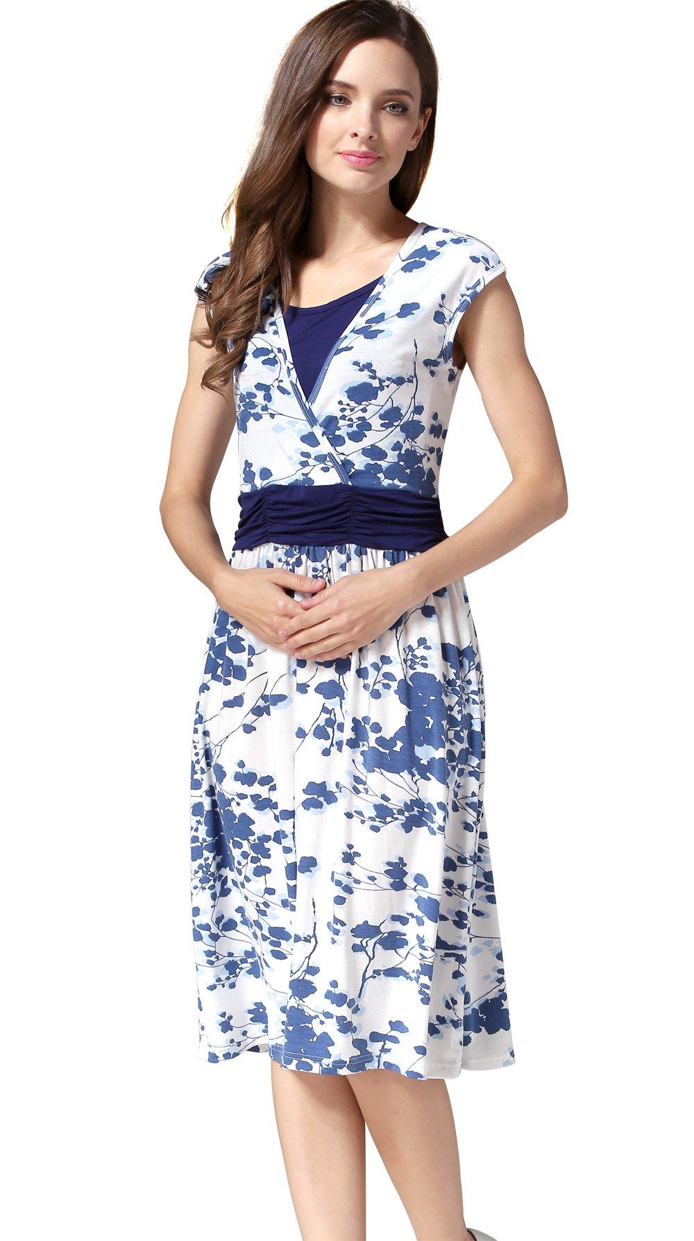 Emotion Moms Flower Maternity Clothes Breastfeeding Nursing Dresses for Pregnant Women (Medium, Blue)