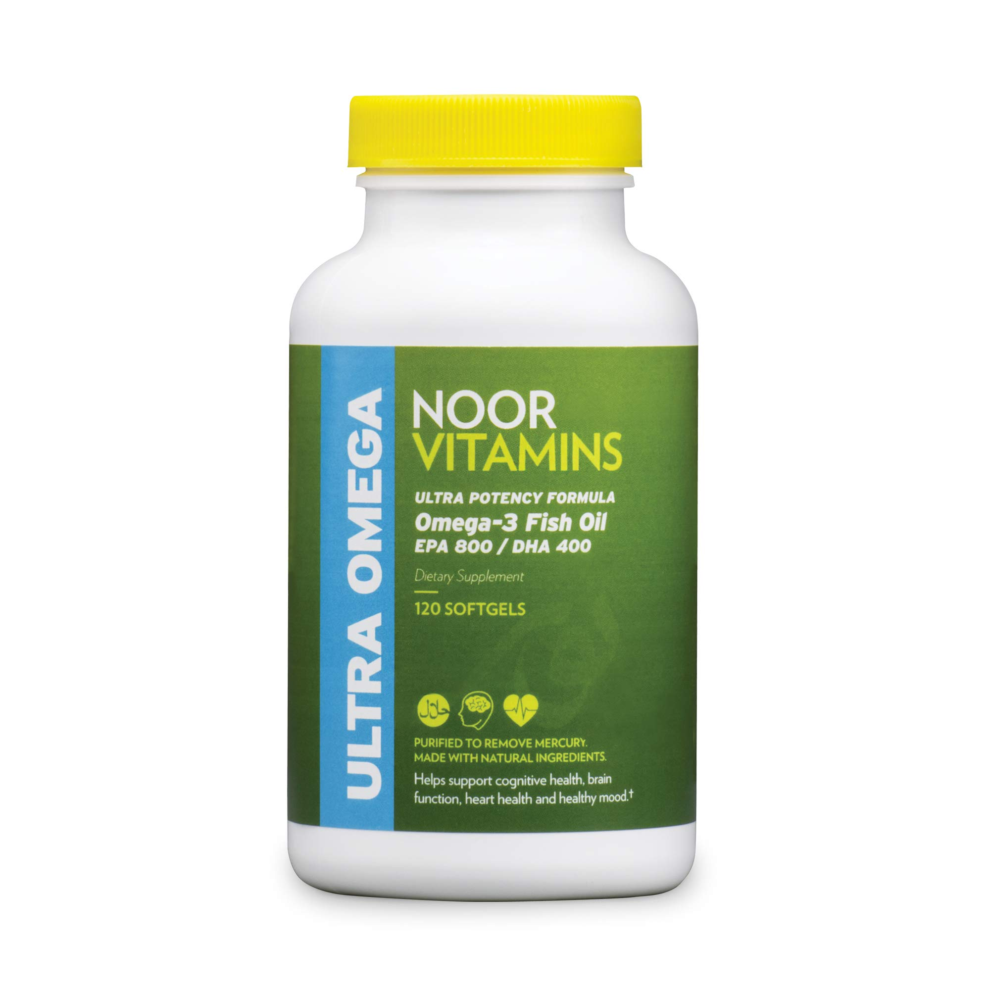 NoorVitamins Ultra Omega-3 Wild Peruvian Fish Oil (2000mg/serving) w/ 800mg EPA & 400 mg DHA | Heart, Brain & Joint Support | Non-GMO & Gluten Free | Halal Vitamins (120 count – 2 month supply)