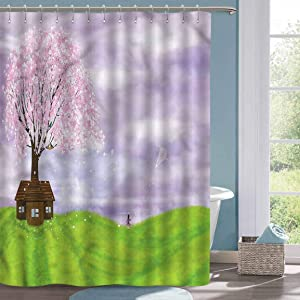 Vintage Shower Curtain Nature Blooming Spring Tree House Hotel Style Shower Curtain W48 xL72