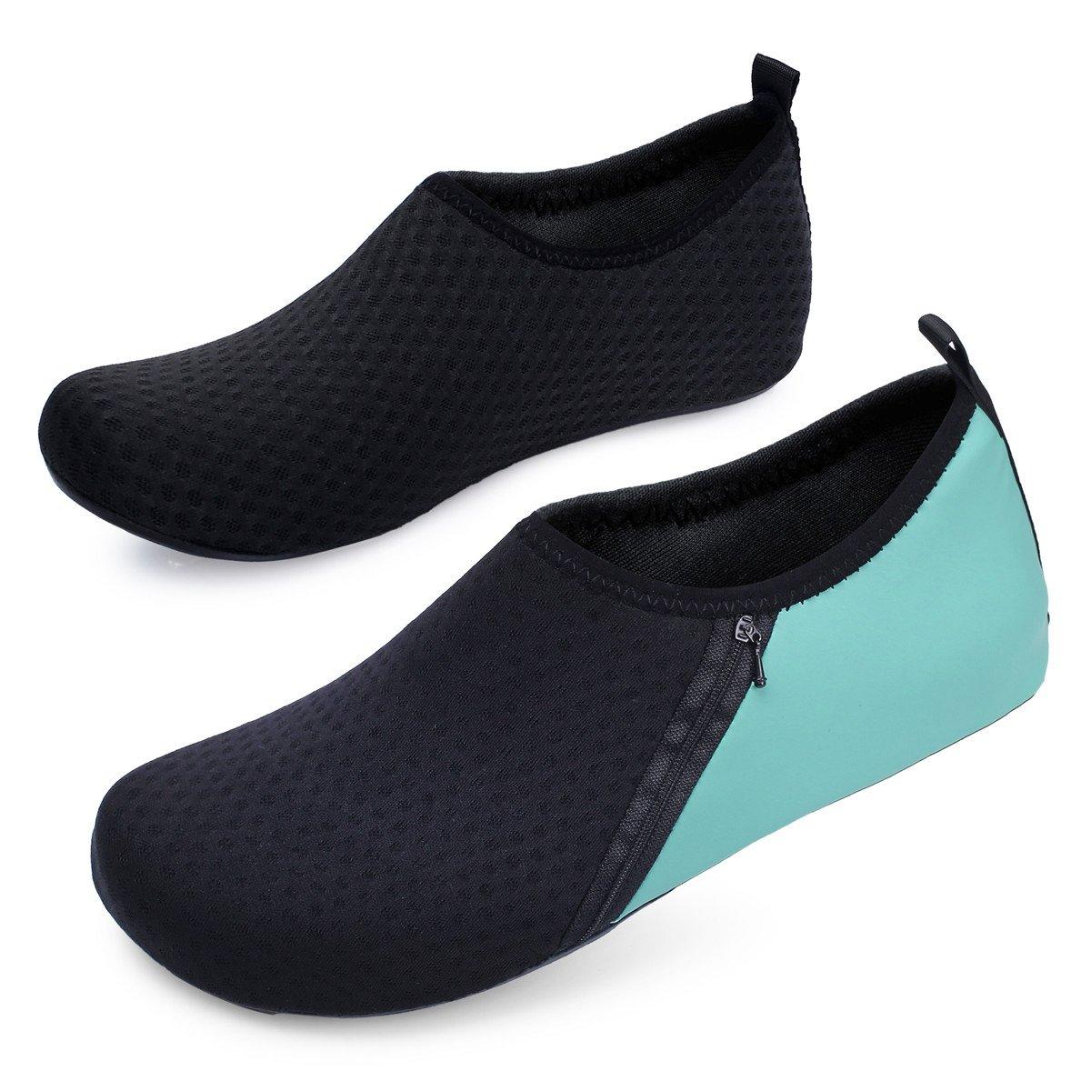JIASUQI Mens Beach Walking Sandals Water Shoes for Pool Swim Zip Green US 7.5-8.5 Women, 6.5-7.5 Men by JIASUQI (Image #2)