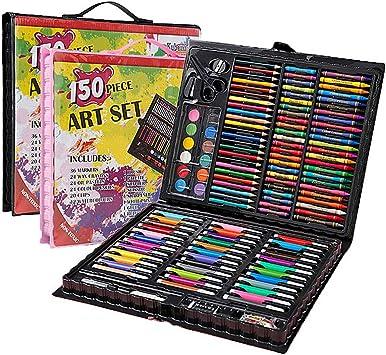 SuperThinker - Juego de Arte de 150 Piezas Suministros de Arte para Dibujar, Pintar y más en un Estuche Compacto y portátil - Es un Gran Regalo para Principiantes y Artistas, Negro: