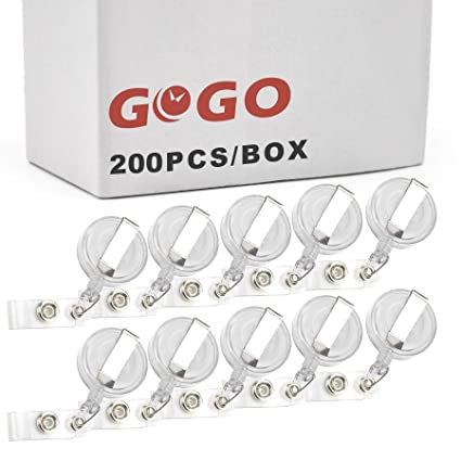 c7e4d68651f Image Unavailable. Image not available for. Color: GOGO Wholesale  Retractable Name Tag Holder Reel Key Clip-Transparent White-200 PCS