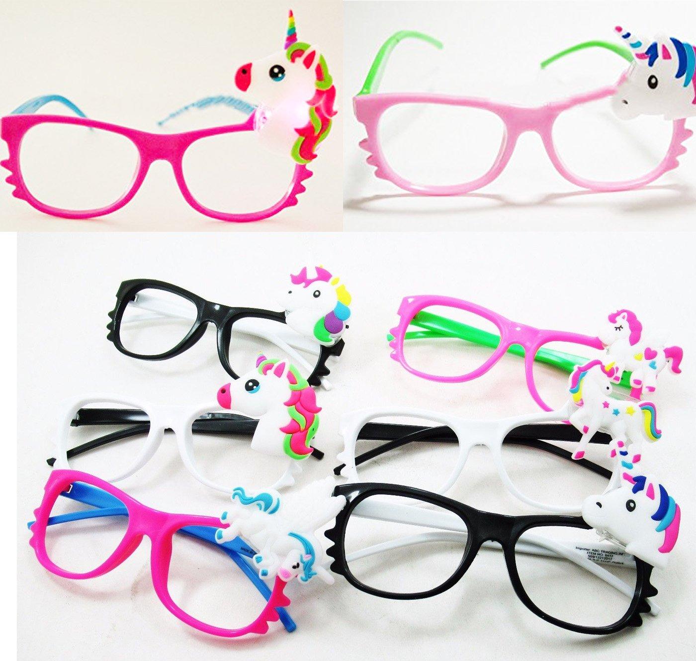 Toycamp 12/pk Flashing Lensless Assorted Unicorn Glasses LED SunGlasses Rave Party Wear