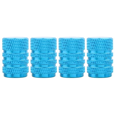 TOMALL Chrome Sky Blue Aluminum Alloy Round Style Tire Valve Stem Caps for Jeep Truck: Automotive