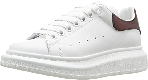 d8855ede7 Image Unavailable. Image not available for. Colour  Alexander McQueen  Sneaker Pelle S.Gomm White Light Oxblood Women s Lace up casual Shoes