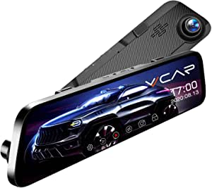 """VVCAR 12"""" Mirror Dash Cam 1296P Backup Camera with GPS Touch Screen Front and Rear View Dual Lens Full HD WDR,Night Vision, G-Sensor for Cars/Trucks"""