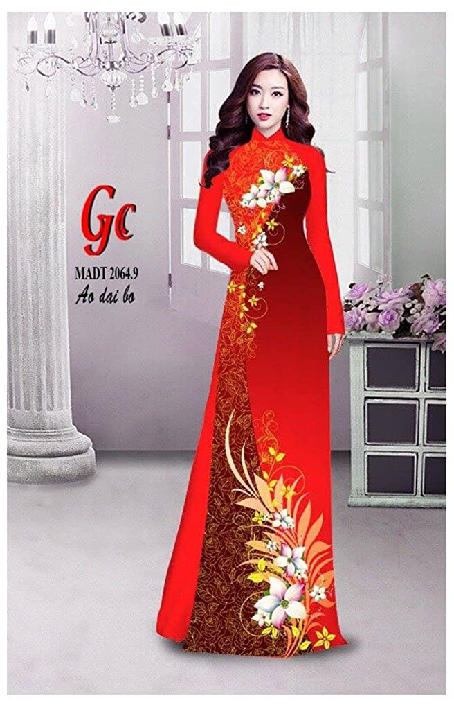 Silk 3D Ao Dai All Size ADVN00157 Traditional Vietnamese Long Dress Collections with Pants