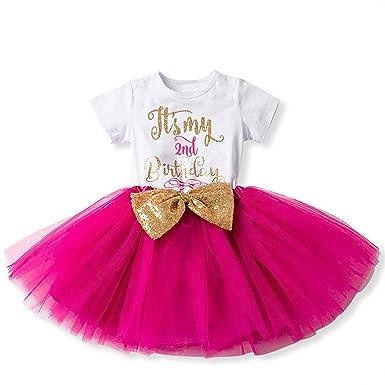 4e5099ae7 IWEMEK Bebé Niñas Es mi 1º   2º Cumpleaños Lentejuela Arco Tutú Princesa  Vestido de Fiesta Rosa Fuerte  Amazon.es  Ropa y accesorios