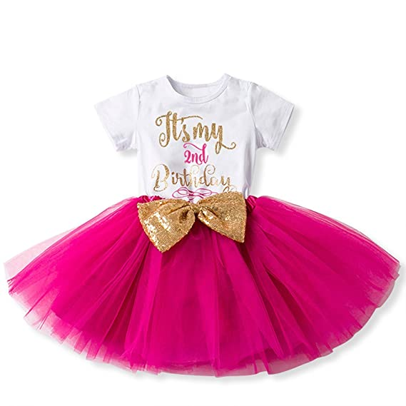 IWEMEK Bebé Niñas Es mi 2º Cumpleaños Lentejuela Arco Tutú Princesa Vestido de Fiesta Rosa Fuerte