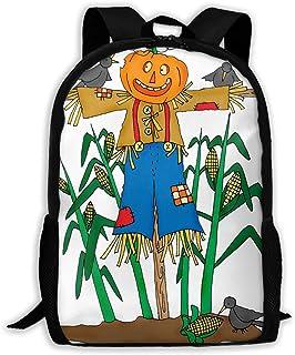 Backpacks Boy's Shoulder Bag Bookbags School Season Scarecrow Pumpkin Traveling Bags