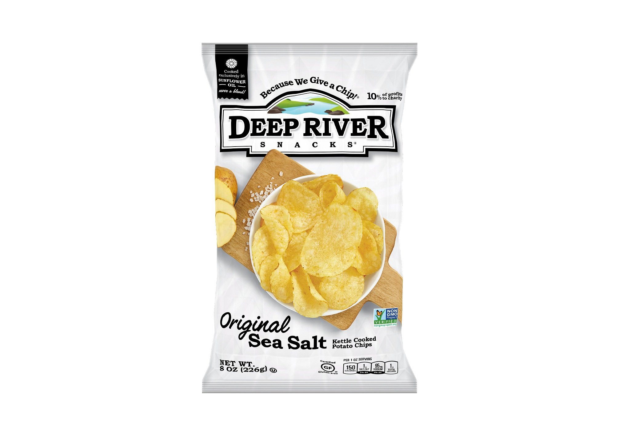 Deep River Snacks Original Sea Salt Kettle Cooked Potato Chips, Non GMO, 8 Ounce (Pack of 12) by Deep River Snacks