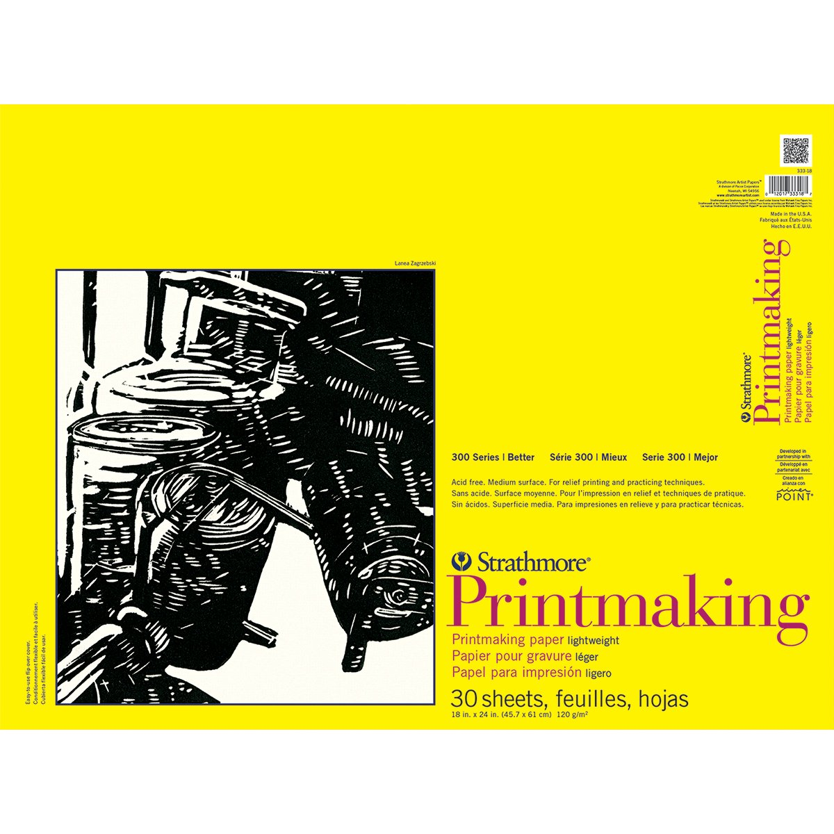 Strathmore 333-18 300 Series Printmaking, Lightweight, 18x24 Glue Bound, 40 Sheets 18x24 Glue Bound STR-333-18