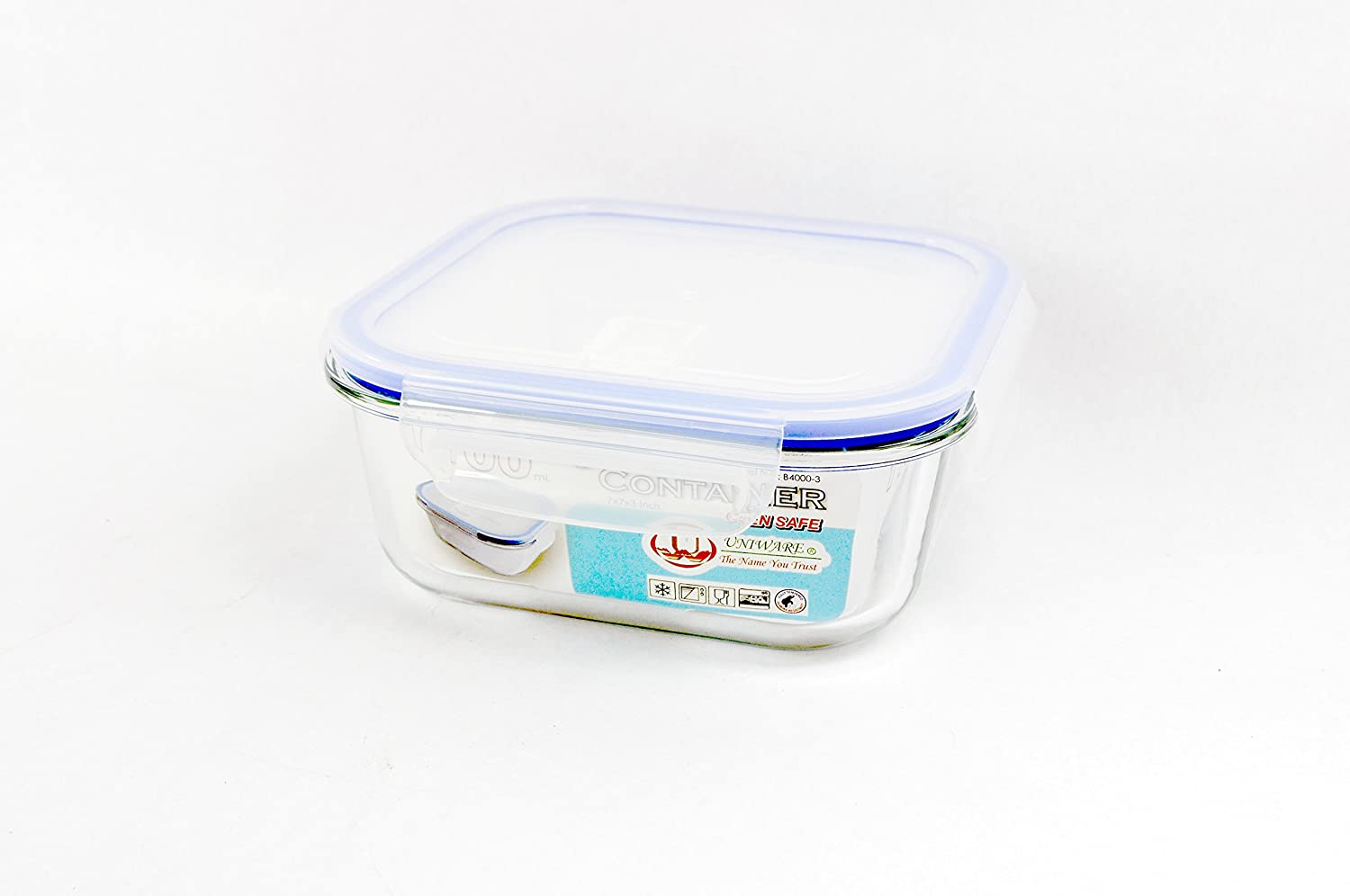 Uniware B4000-1 Heat Resistant Premium Glass Food Container with Snap-Lock Lid (SQUARE) (18 OZ), Clear