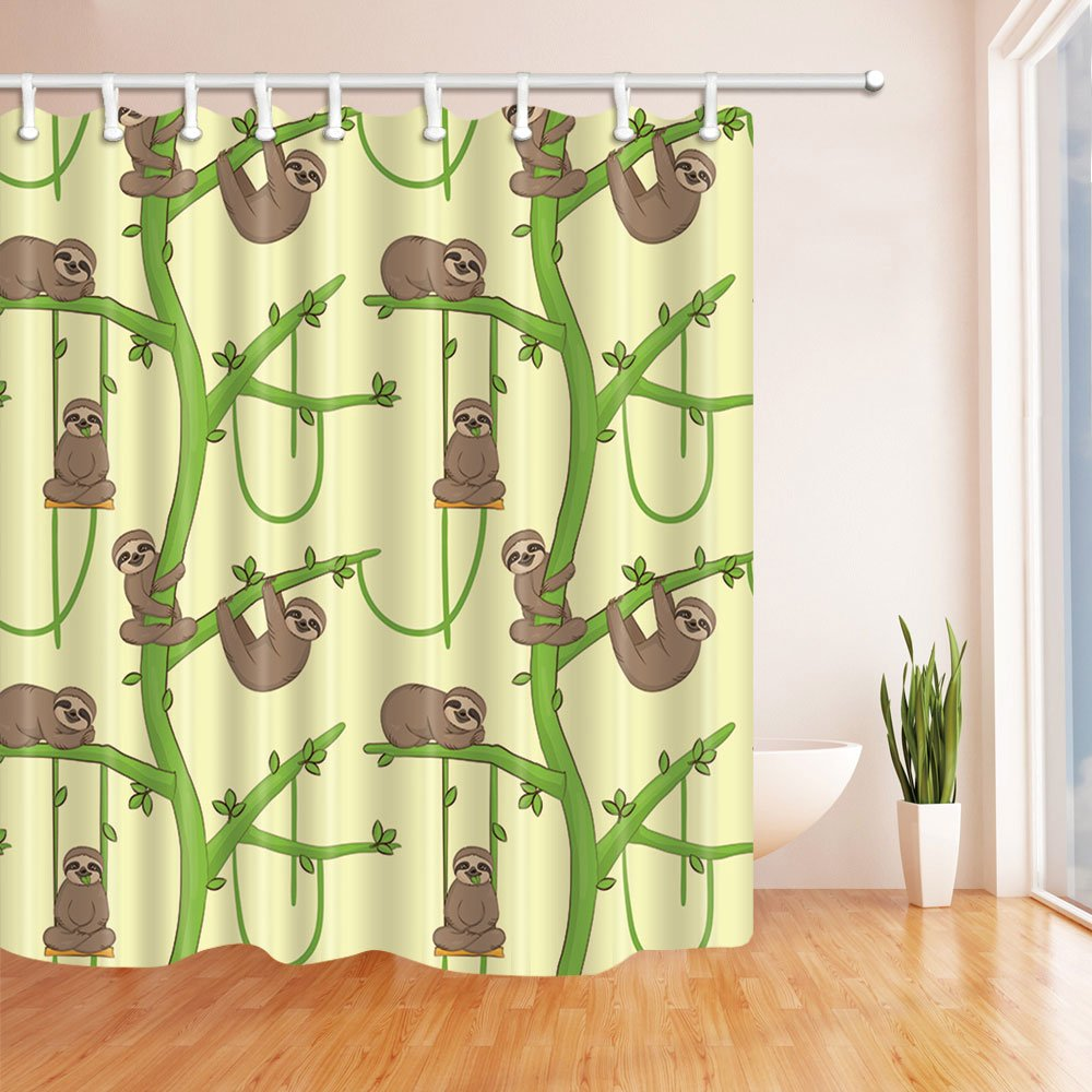 NYMB Animal Decor Cartoon Sloth on the Tree Shower Curtain in Bath 69X70 inches Mildew Resistant Polyester Fabric Bathroom Fantastic Decorations Bath Curtains Hooks Included (Multi2)