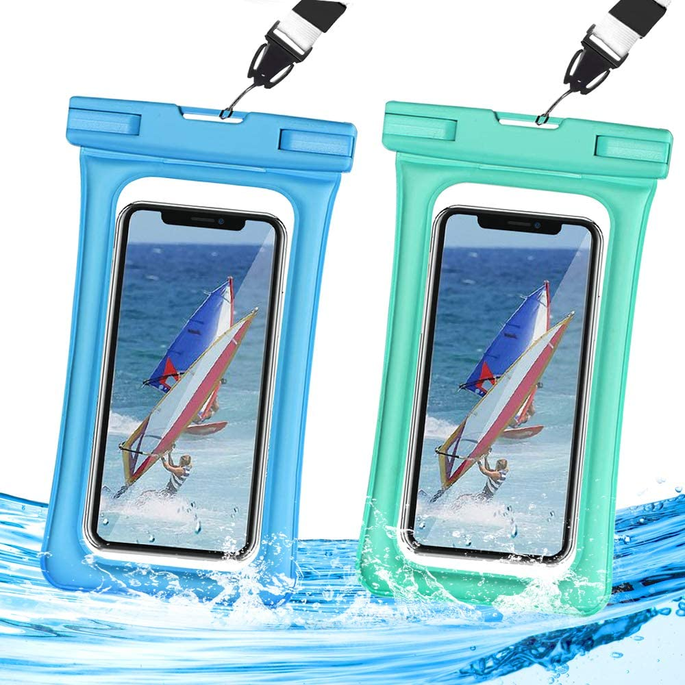 "Waterproof Phone Pouch Floating,Universal Waterproof Case,Dry Bag IPX8 TPU Clear,2-Pack Compatible for iPhone Xs Max/Xr/X/8/8plus/7/7plus6/6s Galaxy Note up to 6.5"" (Blue+Green)"
