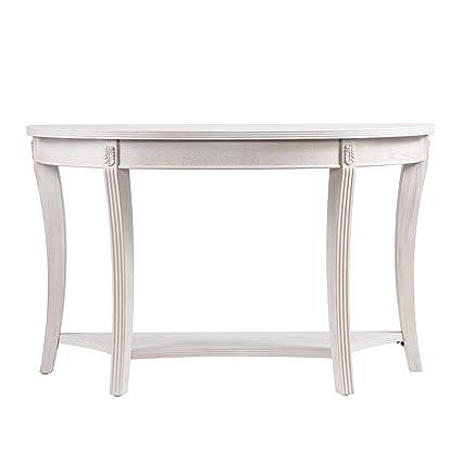 Furniture HotSpot U2013 Demilune Console Table   Whitewashed   46.75u0026quot; W X  17u0026quot; ...