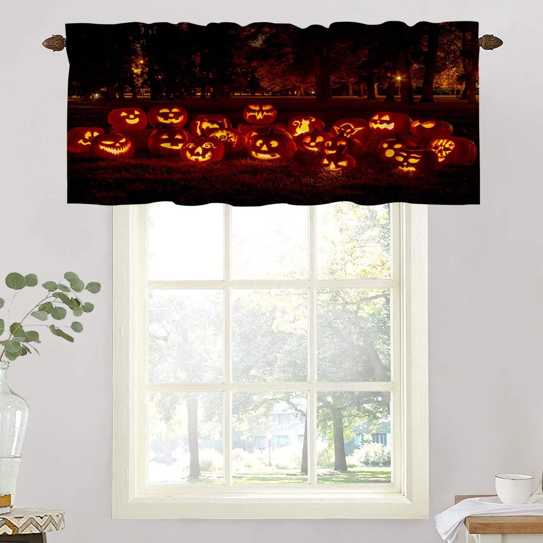BaoNews Halloween Fall Kitchen Valances Window Curtain, Jack O Lantern Pumpkin Orange Halloween Blackout Decoration Small Window Valances Curtains Drapes for Kitchen Bedroom, 52 X 18 Inch