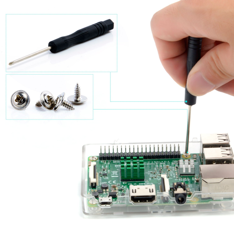 Aukru Raspberry pi 3 Model B+ Caja Negro + 3X Disipador De Calor para Raspberry Pi 2/ Raspberry Pi 3 Model B/B+