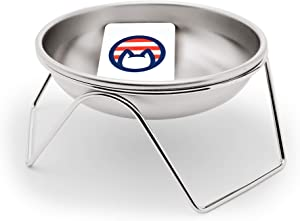 Americat Company Stainless Steel Cat Bowl + Elevated Stand – Made in The USA from U.S. Materials – Prevent Whisker Fatigue – Bowl Stand for Cat Food and Water (Bowl + Stand)