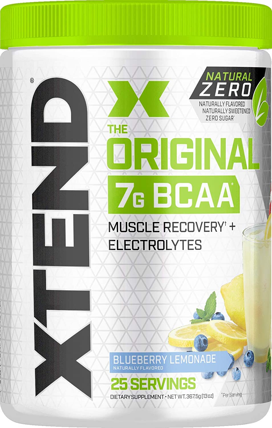 XTEND Natural Zero BCAA Powder Blueberry Lemonade | Free of Artificial Sweeteners, Flavors, and Chemical Dyes | Post Workout Drink with Amino Acids | 7g BCAAs for Men & Women | 25 Servings: Health & Personal Care