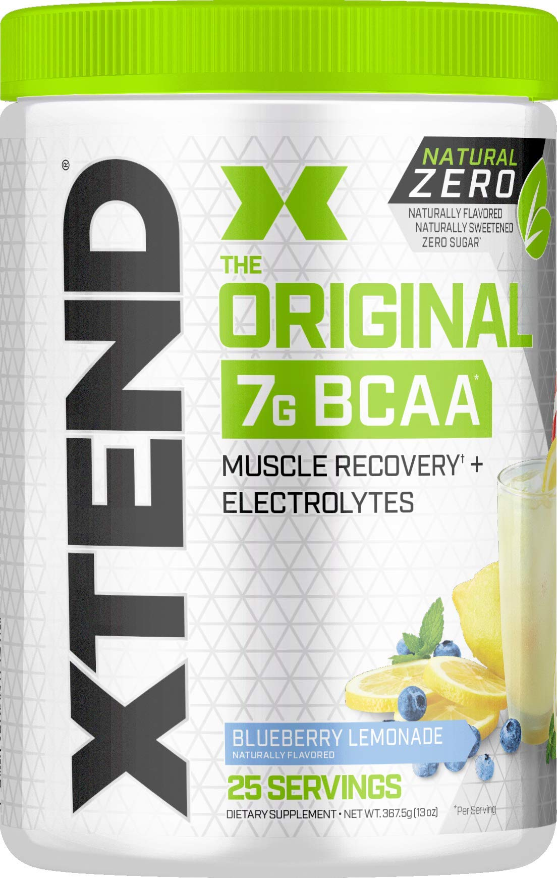 Scivation Xtend Natural Zero BCAA Powder, Branched Chain Amino Acids, BCAAs, No Artificial Colors, Flavors, or Sweeteners, Blueberry Lemonade, 25 Servings