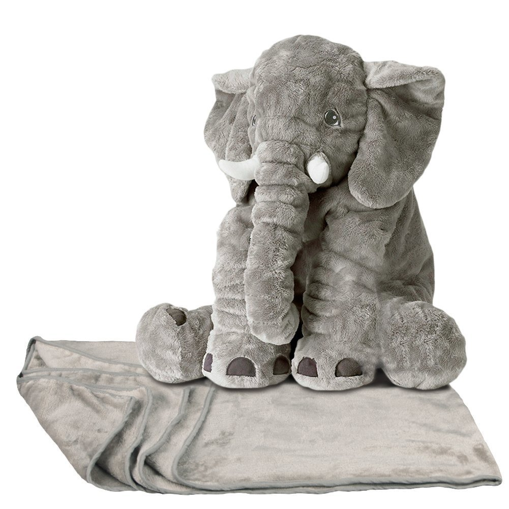 YunNasi 20 Inches Baby Cushion Long Nose Plush Elephant Toy Pillows Stuff Animal Plush (Grey)