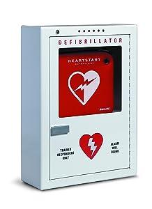 "Philips HeartStart AED Defibrillator Premium Wall Cabinet, 16"" W x 22.5"" H x 6"" D, Beige, Model:PFE7024D"