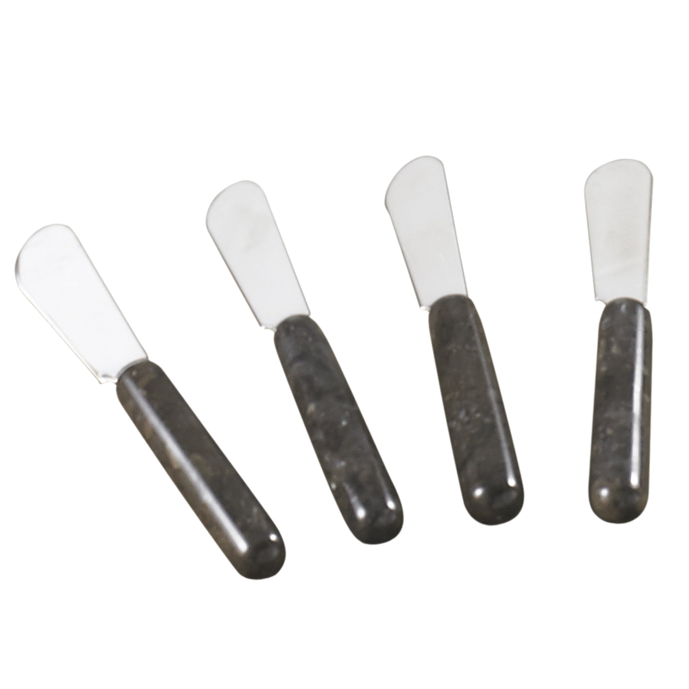 Creative Home Natural Charcoal Marble Cheese Spreaders, Butter Spreaders Set, Set of 4