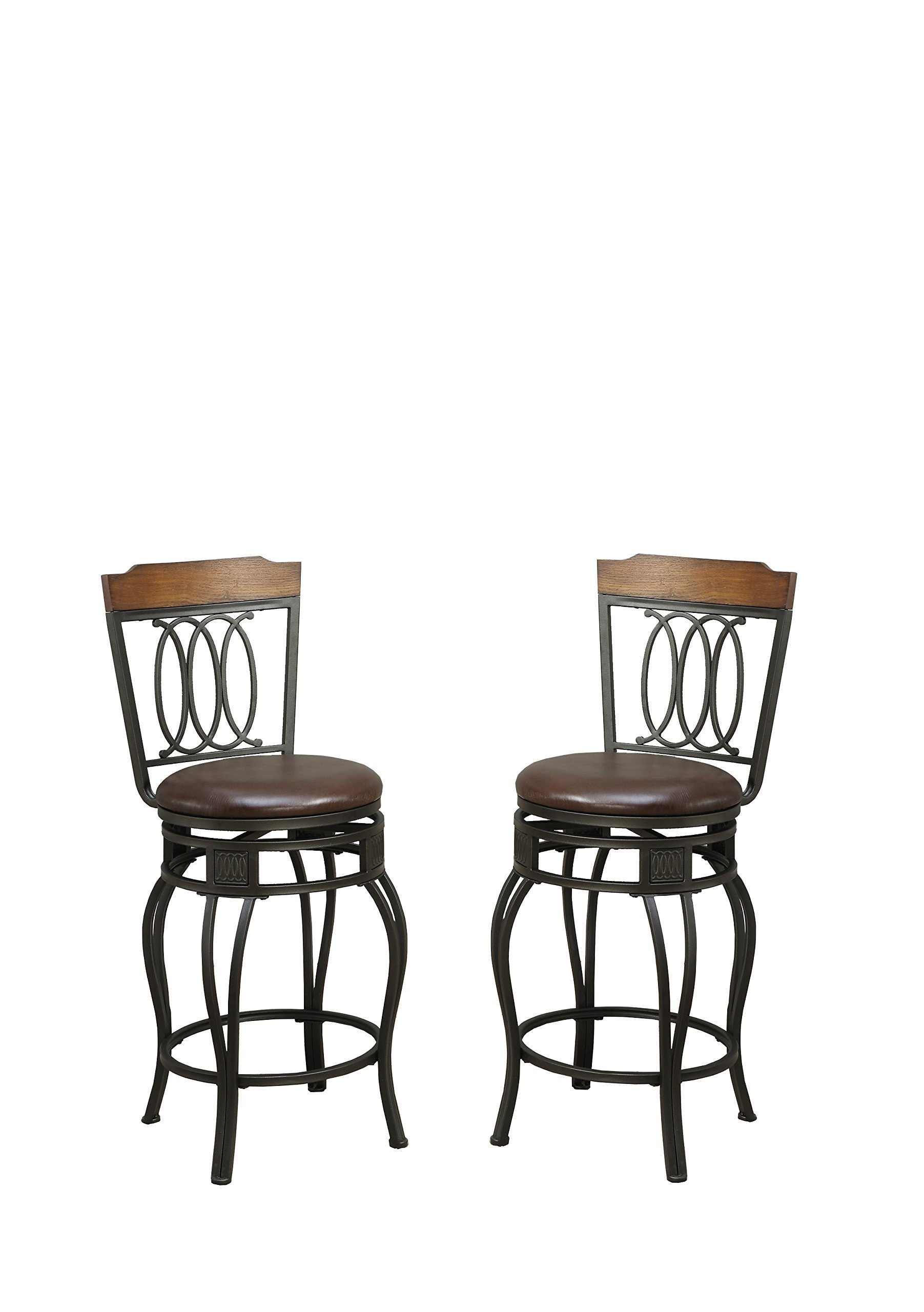 Poundex PDEX-F1523 Bobkona Earline 24'' Seat Height Swivel Bar Stool, Brown, Set of 2