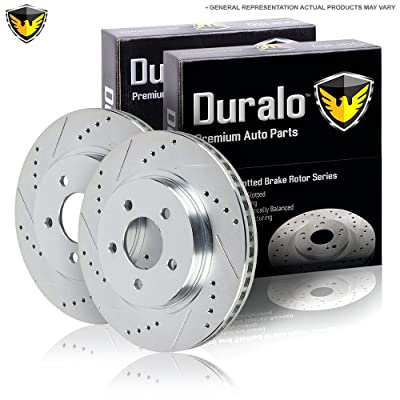 Pair New Duralo Premium Performance Drilled And Slotted Rear Brake Disc Rotors - Duralo 152-1990 New
