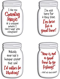 product image for Imagine Design Relatively Funny I Like My Country Music, I'm Not Here for A Long, Nobody Ever Had A Bumper Sticker, Now is Not A Good Time, 4-Pk Mason Jar Magnets, Red/Black/White