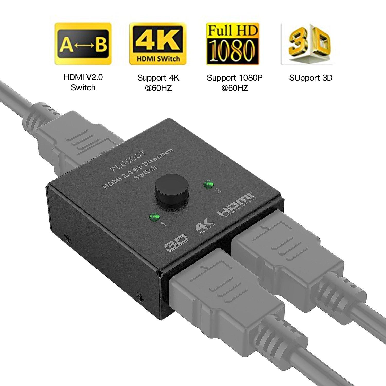 HDMI 2.0 Switch Splitter PlusDot 1x2 Ports Bi-directional Manual Switcher 2x1 HDMI AB Switch Hub-HDCP Pass through UHD 4Kx2K@60Hz & 3D-Supports XBox 360, XBox One, PS3, PS4,HDTV, Blu-Ray DVD