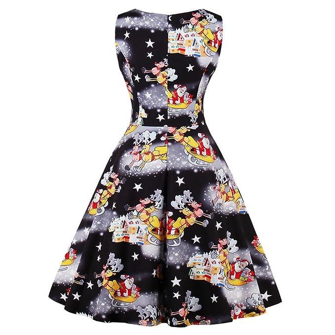 Women Dresses Godathe Plus Size Womens Santa Christmas Party Dress Vintage Xmas Swing Skater Dress S