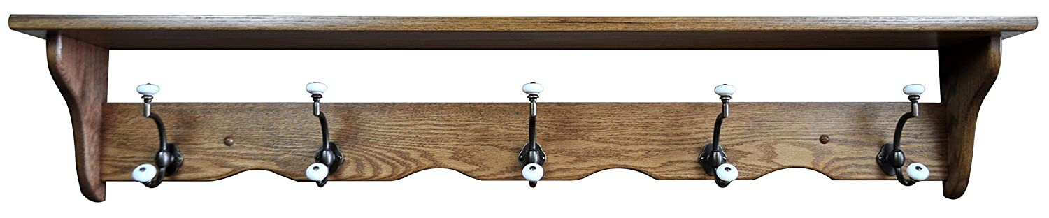 Wood Coat Rack Shelf Wall Mounted, Traditional, 5 Hook, Oak Wood, Fruitwood Stain