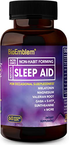 BioEmblem Natural Sleep Aid for Adults with Melatonin, Valerian Root, Suntheanine More Fast, Deep Sleep Supplement Herbal Sleeping Pills 60 Capsules