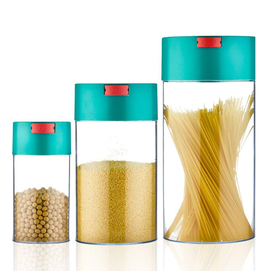 Juego de 3 recipientes de almacenamiento de alimentos sellados al vacío, fuertes, herméticos, duraderos, para alimentos secos, granos de café, té y hierbas