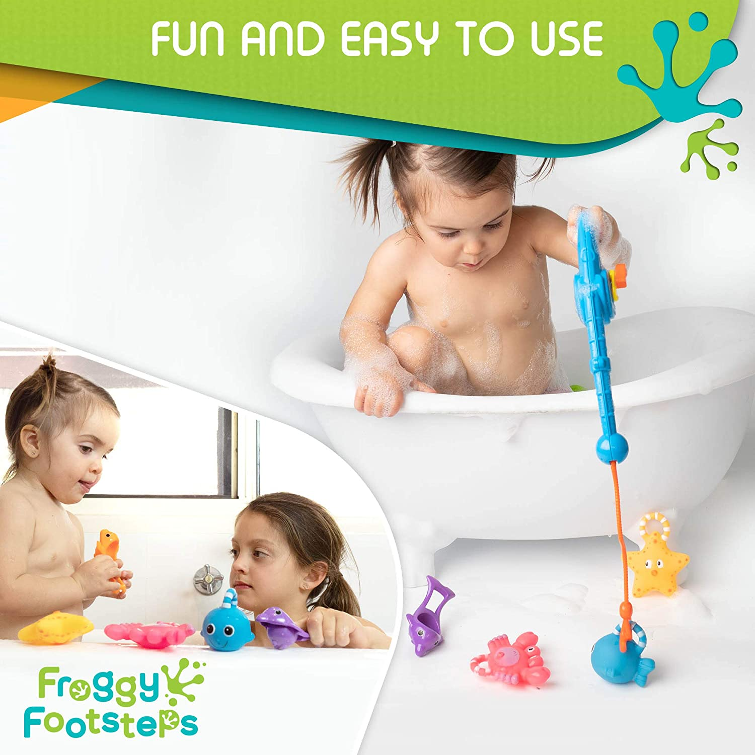 Girls Water Play includes 8 Toys for Fun Bathtime- Mesh Bag for Organized Storage- Best for Bath Time Swimming- For Babies Toddlers Kids Boys Froggy Footsteps Fishing Bath Toy