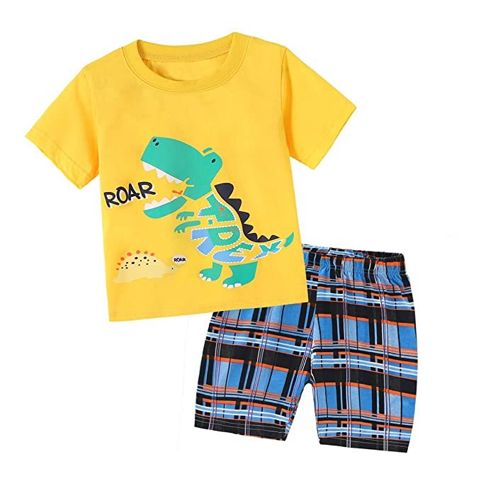 10f67155 Dailybella Baby Toddler Boys Clothes Dinosaur Print T-Shirt Tops Shorts  Pants Summer Outfits Set