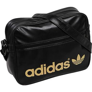 564ad29ffc Adidas Originals Airliner AC Shoulder Messenger Bag-Black Gold   Amazon.co.uk  Clothing