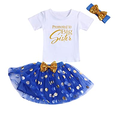 1a094a35 Toddler Girl Promoted to Big Sister Skirt Set Baby Girls Short Sleeve  Letter Printed Top+