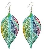Fashion Metal Hollow Colorful Leaf Pendant Drop Hook Earrings Statement Jewelry